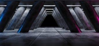 Élégant moderne de lueur au néon bleue de pourpre de Sci formé par triangle vide foncée fi de colonnes de Hall Underground Cement illustration de vecteur