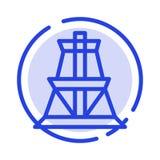 Élém. élect., énergie, transmission, ligne pointillée bleue ligne icône de tour de transmission illustration de vecteur