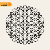 Élément arabe radial noir et blanc de Rosette Geometric Star Tiling Design de vecteur Photos libres de droits