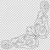 Élément baroque faisant le coin de décoration d'ornement Photo stock
