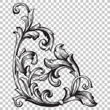 Élément baroque faisant le coin de décoration d'ornement Photographie stock