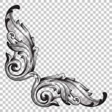 Élément baroque faisant le coin de décoration d'ornement Photo libre de droits