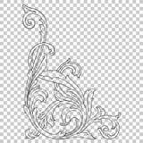 Élément baroque faisant le coin de décoration d'ornement Photos libres de droits
