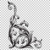 Élément baroque faisant le coin de décoration d'ornement Image stock