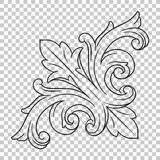 Élément baroque faisant le coin de décoration d'ornement Images stock