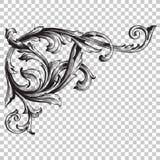 Élément baroque faisant le coin de décoration d'ornement Photos stock