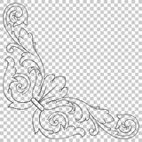 Élément baroque faisant le coin de décoration d'ornement Images libres de droits