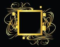 Élément carré de noir d'or Photographie stock libre de droits
