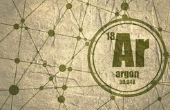 Élément chimique d'argon Photographie stock libre de droits