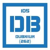 Élément chimique de Dubnium Photographie stock