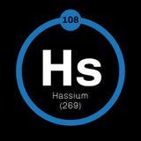 Élément chimique de Hassium Photos libres de droits