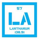 Élément chimique de lanthane Photos stock