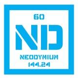 Élément chimique de néodyme Image stock