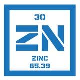 Élément chimique de zinc Images stock