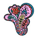 Élément coloré d'abrégé sur griffonnage Paisley tiré par la main Formes florales, fleurs illustration de vecteur