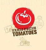 Élément créatif de conception de vecteur de marché de nourriture de tomates fraîches organiques de ferme Mangez le concept local  illustration libre de droits