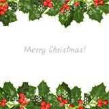 Élément décoratif avec l'arbre de houx Fond de Noël heureux ! Photographie stock libre de droits