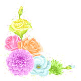 Élément décoratif avec les fleurs sensibles Objectez pour des invitations de mariage de décoration, cartes romantiques Photographie stock