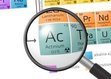 Élément d'actinium avec la loupe Photo libre de droits