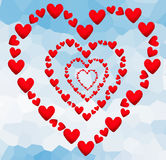 Élément d'amour de coeur de jour de valentines sur le backgrou polygonal abstrait Photographie stock