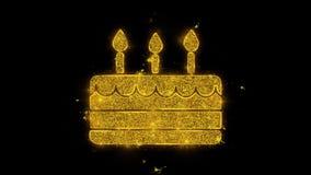 Élément de bougie de joyeux anniversaire écrit avec les feux d'artifice d'or d'étincelles de particules illustration stock