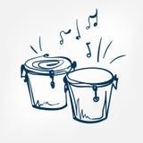 Élément de conception d'isolement par illustration de vecteur de croquis de bongo illustration de vecteur