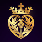 Élément de conception de vecteur de broche de Luckenbooth Forme écossaise de coeur de vintage avec le concept de logo de symbole  Image libre de droits