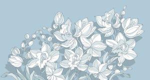 Élément de conception de fleur d'orchidée dans la couleur de bleu de la poussière illustration stock