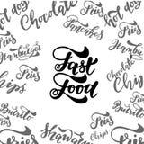 Élément de lettrage d'aliments de préparation rapide Inscription tirée par la main Illustration d'encre illustration libre de droits