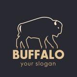 Élément de logo de vecteur de Buffalo, contour d'or Image libre de droits