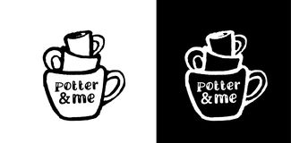Élément de pile avec des tasses Logo à l'encre noire La traînée des tasses Illustration Stock