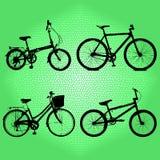 Élément de silhouettes aux bicyclettes Images libres de droits