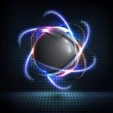 élément de wireframe de la sphère 3D avec les lampes au néon rougeoyantes Élément de HUD illustration de vecteur