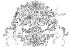 Élément de zentangle de dessin de main Images libres de droits
