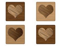 Élément en bois de tisonnier - coeur illustration de vecteur