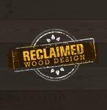 Élément en bois repris de conception Ensemble créatif de labels et de timbres rustiques pour Custom Interior Workshop Company Image libre de droits