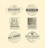 Élément en bois repris de conception Ensemble créatif de labels et de timbres rustiques pour Custom Interior Workshop Company Image stock