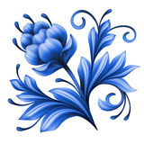 Élément floral artistique, art populaire abstrait de gzhel, illustration bleue de fleur Images libres de droits
