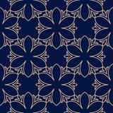 Élément floral d'or sur le fond bleu-foncé Configuration sans joint Photographie stock