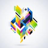 Élément géométrique abstrait avec des gradients colorés et des lumières rougeoyantes illustration stock