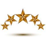 Élément merveilleux de graphique de vecteur avec les étoiles d'or, symbole, illustration stock