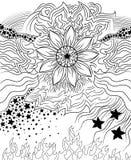 Élément noir et blanc de conception de ressort de fleur illustration de vecteur