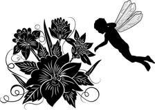 Élément pour la conception, fleur avec l'elfe de silhouette, vecteur Images stock