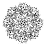 Élément rond pour livre de coloriage Configuration florale noire et blanche photos stock