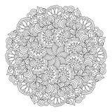 Élément rond pour livre de coloriage Configuration florale noire et blanche Images stock