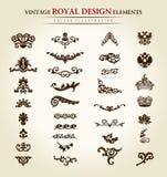 Élément royal de conception de cru de fleur illustration de vecteur