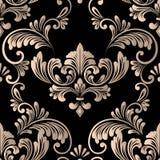 Élément sans couture de modèle de damassé de vecteur Ornement démodé de luxe classique de damassé, texture sans couture de victor illustration stock