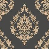 Élément sans couture de modèle de damassé de vecteur Ornement démodé de luxe classique de damassé, texture sans couture de victor illustration libre de droits