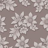 Élément sans couture de modèle de fleur volumétrique de vecteur Le luxe élégant a gravé la texture en refief pour des milieux, te illustration stock