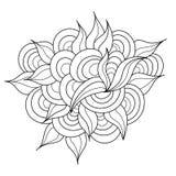 Élément tiré par la main de zentangle Modèle noir et blanc de griffonnage Images libres de droits